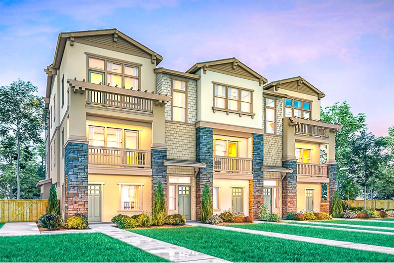 Rendering of townhomes in Enclave at Mission Falls