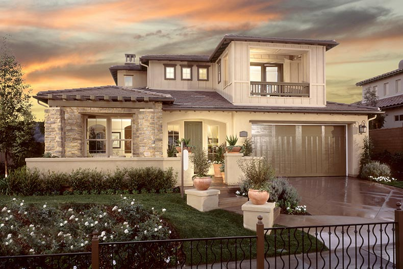 Exterior view of a luxurious new construction home