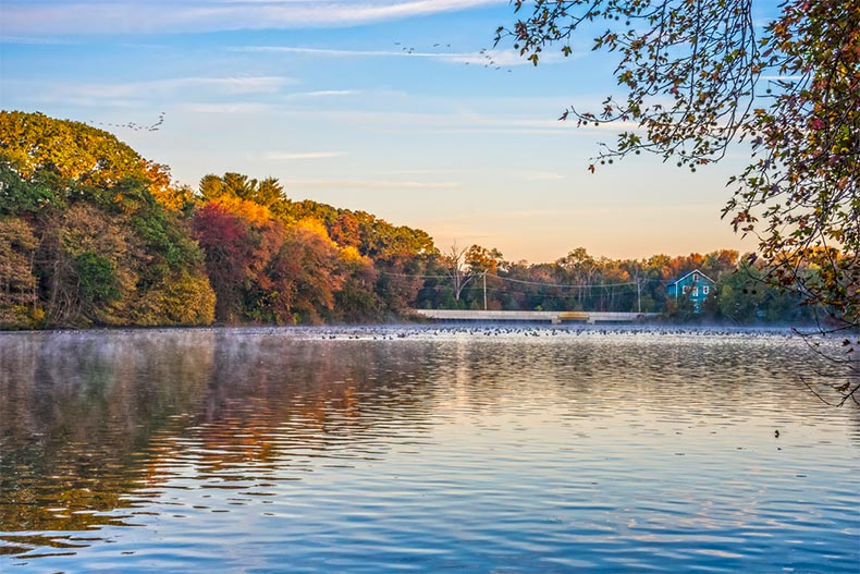 Fall colors around a lake at sunset or sunrise