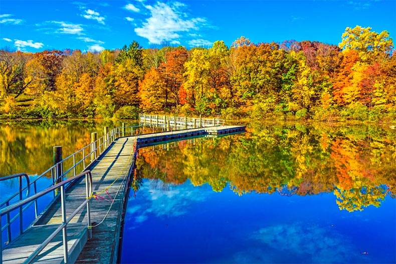 Footbridge across George Lake during autumn in Morris County, NJ