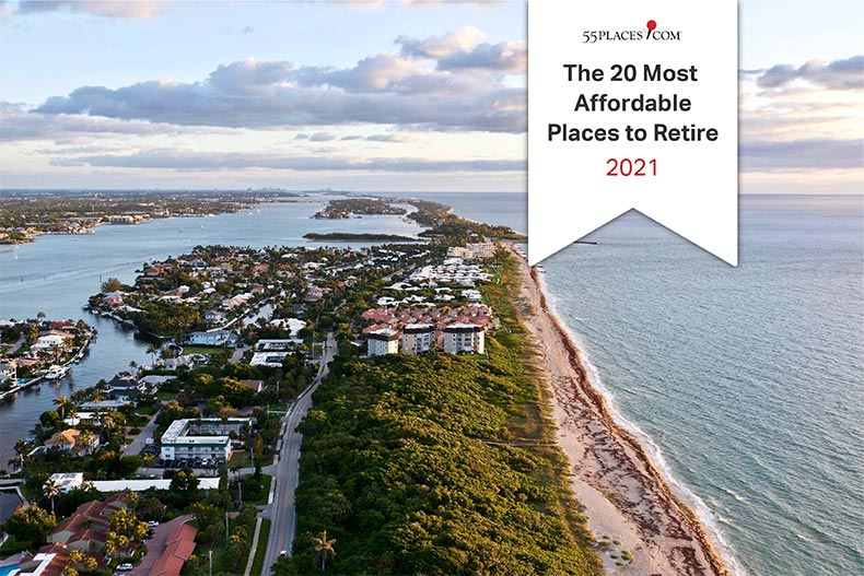 """The 20 Most Affordable Places to Retire 2021"" banner over an aerial view of Boynton Beach, Florida"