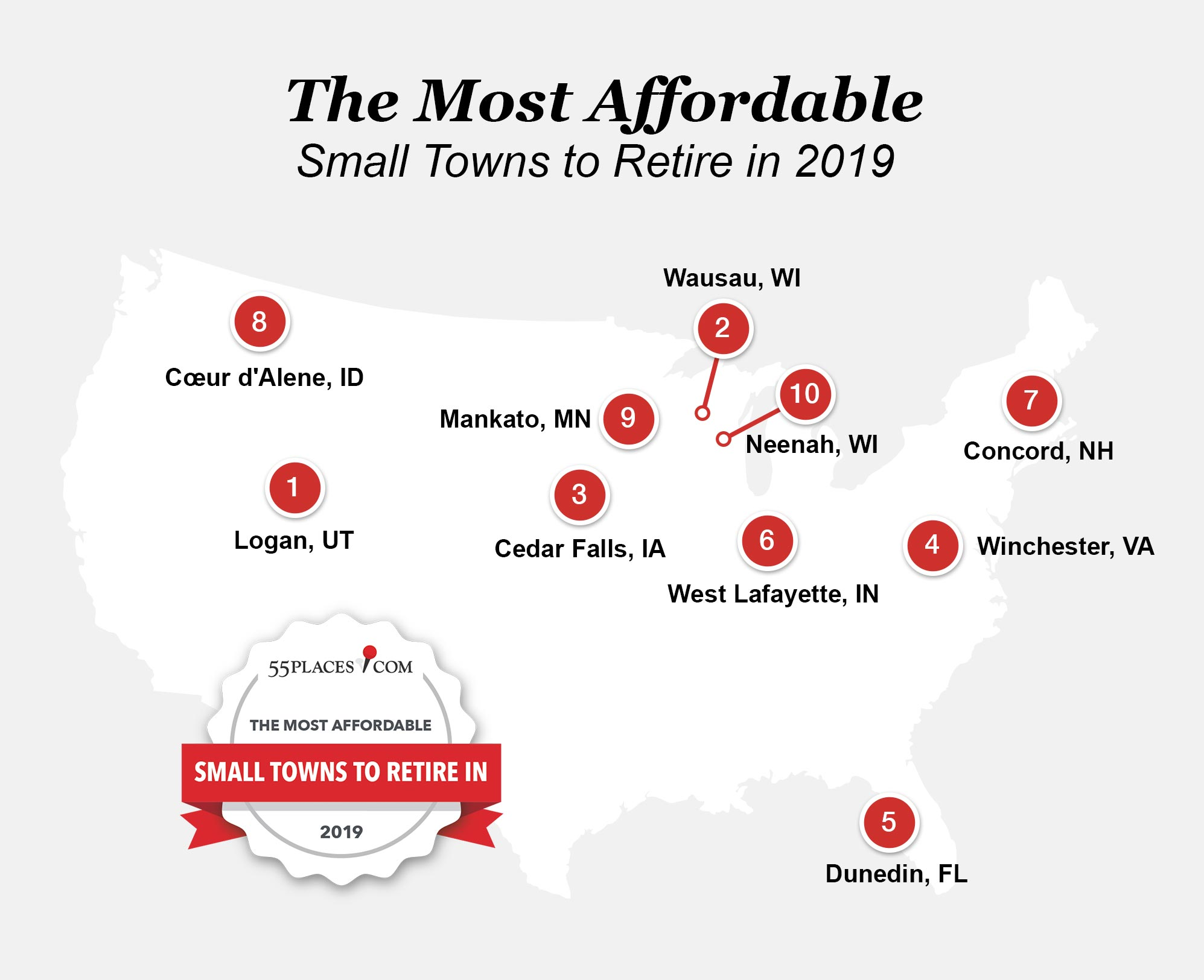Map of the 10 most affordable small towns in the U.S.