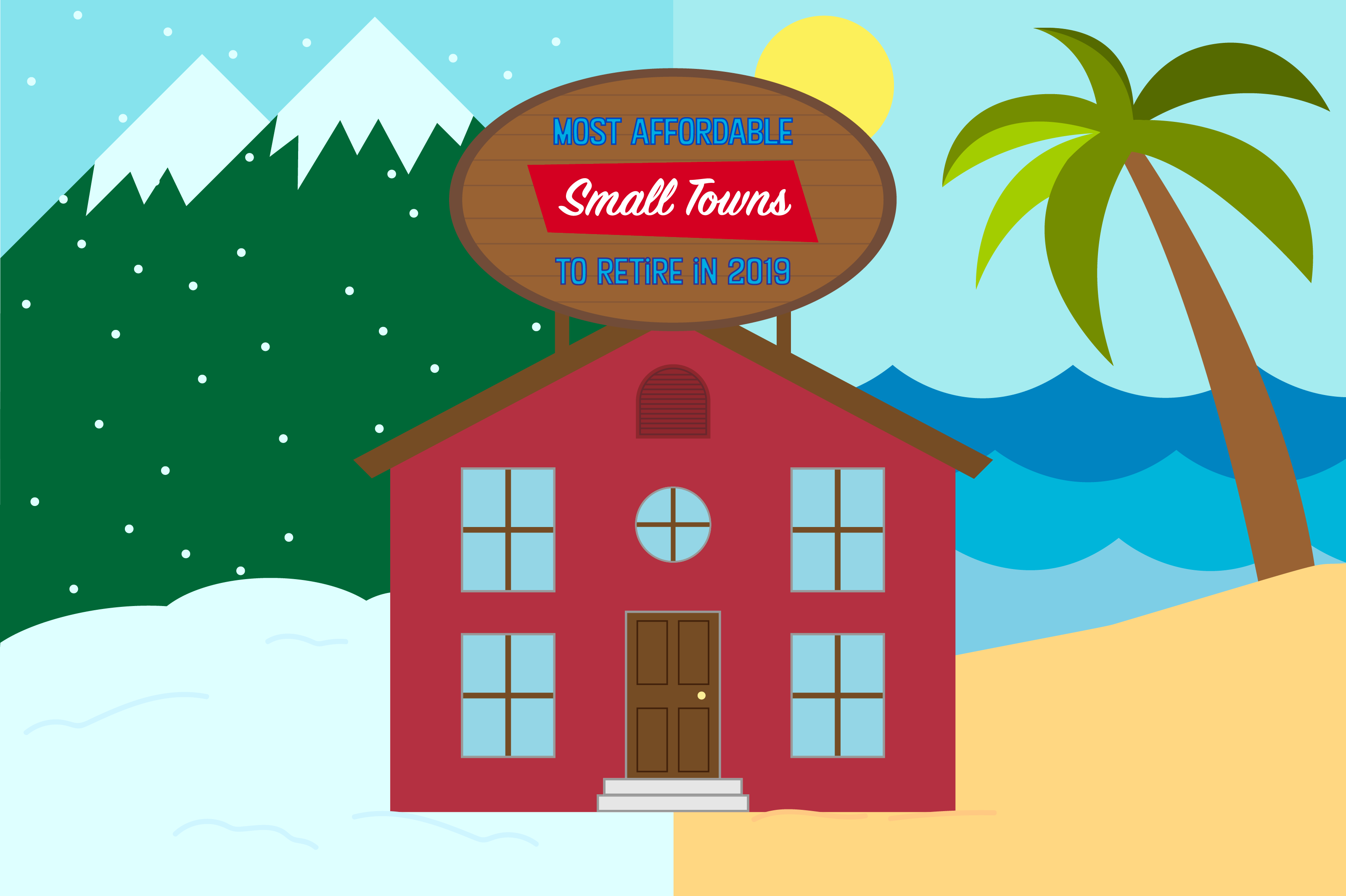 Graphic of small home with mountains, water, beach, and snow.