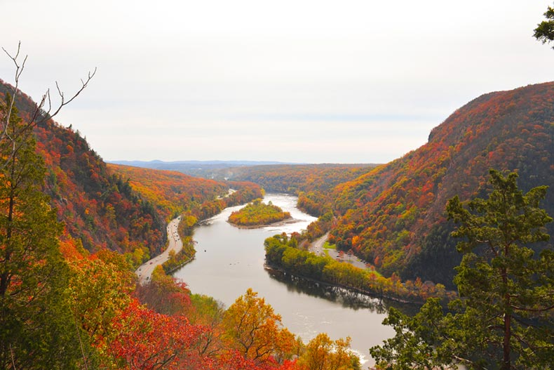 An autumn view of Mount Tammany in New Jersey