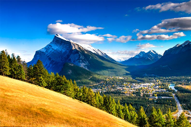 Stunning mountain view with a town nestled into the base of the Banff Rocky Mountains