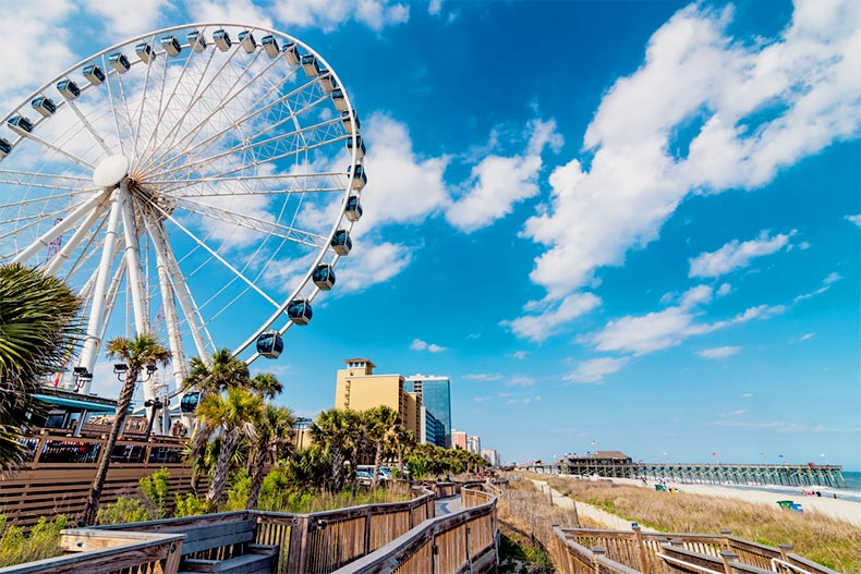 Blue sky over the ferris wheel along the shoreline of Myrtle Beach, South Carolina