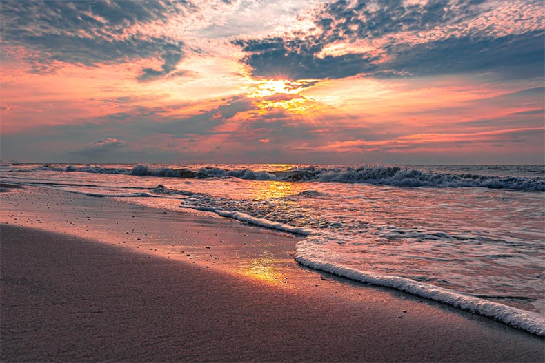 A sunset over the shoreline in Myrtle Beach, South Carolina
