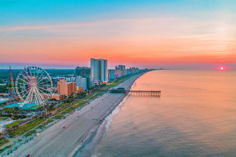 Aerial photo of the North Myrtle Beach boardwalk next to the Atlantic Ocean in South Carolina