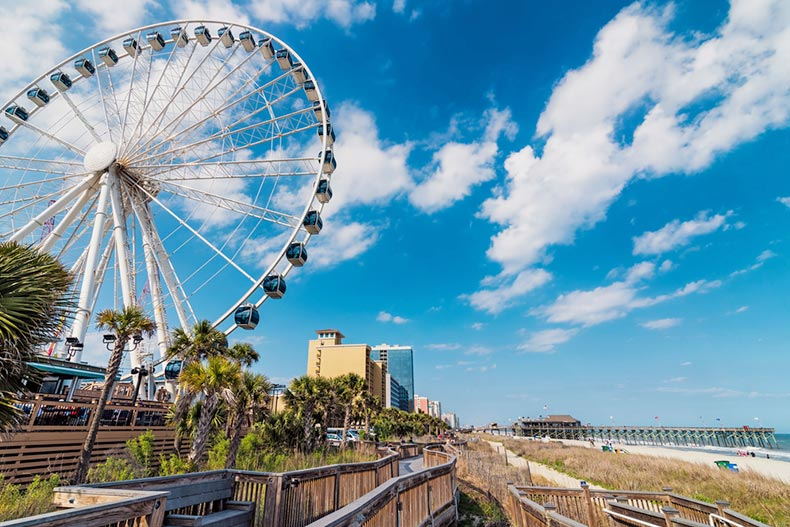 A ferris wheel along the city skyline of Myrtle Beach, South Carolina