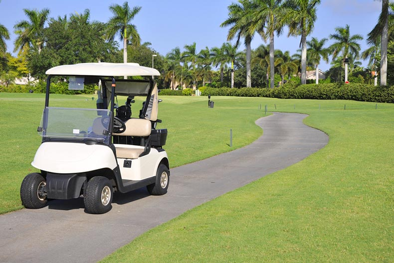 An empty golf cart sitting on a macadam path by a golf course in Florida