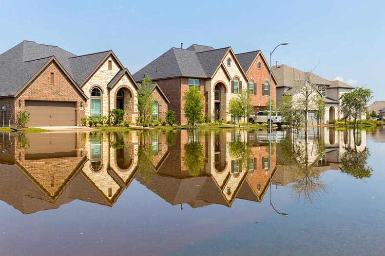 Large suburban houses submerged after a flood