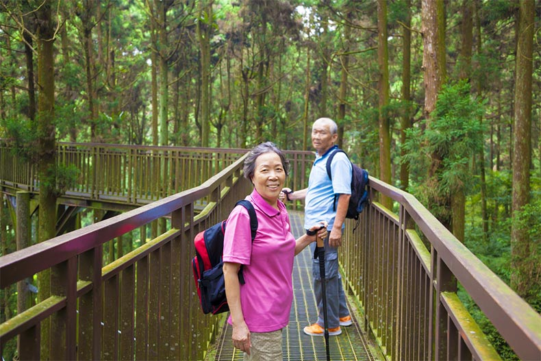 Older Asian couple walking on elevated trail through lush, green forest.