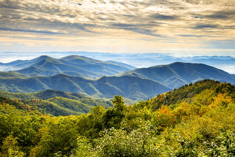 Blue Ridge Parkway National Park in western North Carolina at sunrise