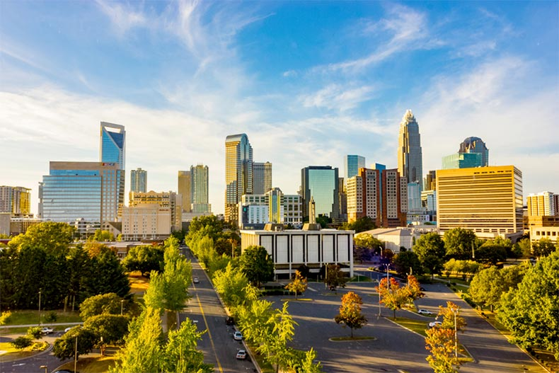 Blue sky over the Charlotte, North Carolina city scape