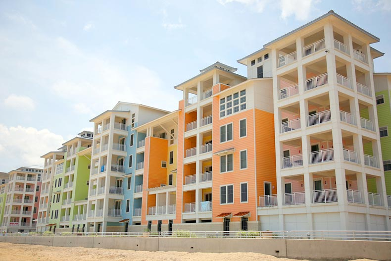 Colorful new condominiums on the beach in North Carolina