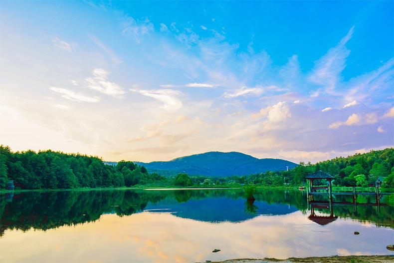 A blue sky over Cashiers Lake near Asheville, North Carolina