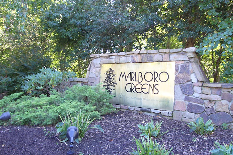 View of the community sign at Marlboro Greens in Englishtown, New Jersey