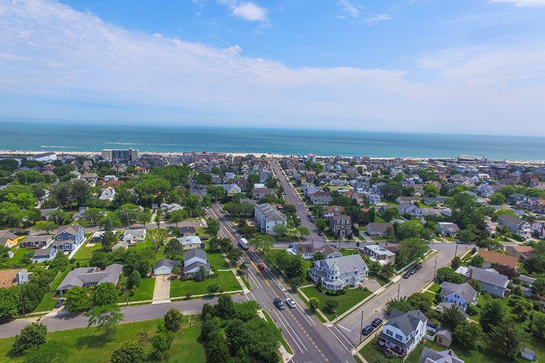 Aerial view of Cape May, New Jersey with the beach in the background