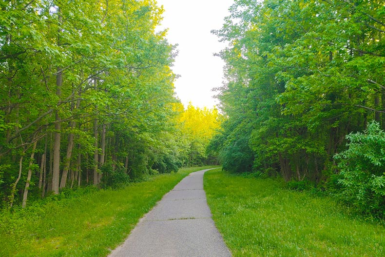View down a paved trail in Mercer County Park near Princeton, New Jersey