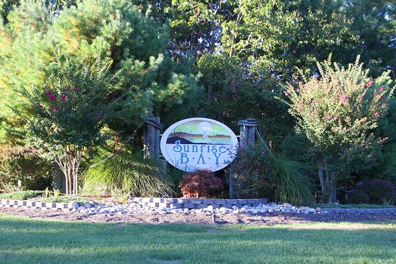 View of the community sign at Sunrise Bay in Little Egg Harbor, New Jersey