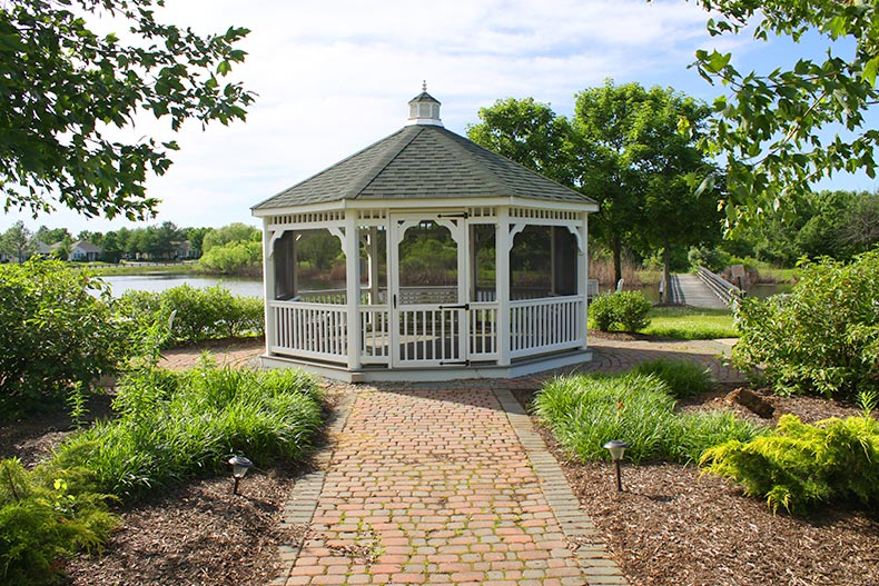 View of a gazebo beside a pond at The Ponds in Monroe, New Jersey