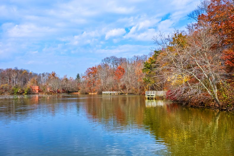 A blue sky over Smithville Lake in Burlington County, New Jersey on a late autumn day