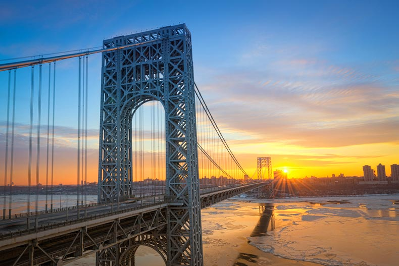 Sunrise view of the George Washington Bridge from New Jersey