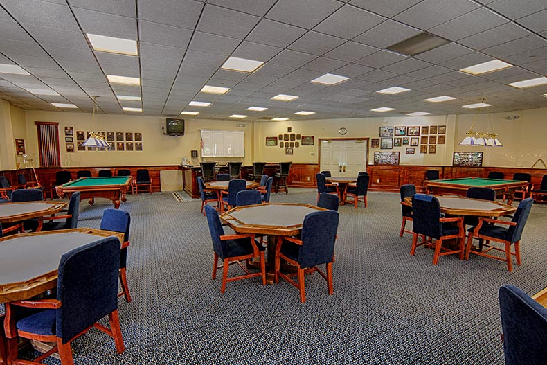 Interior view of the card room at Fox Hills in Rockaway, New Jersey