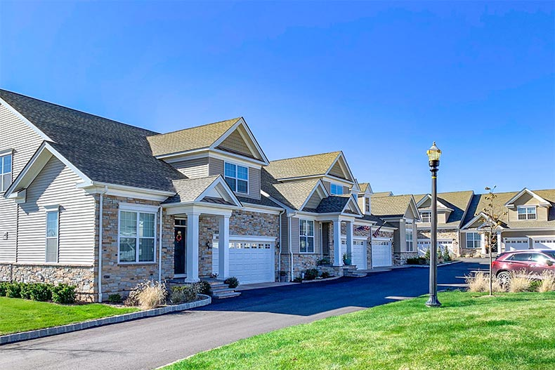 Exterior view of attached homes at Regency at Readington in Readington Township, New Jersey