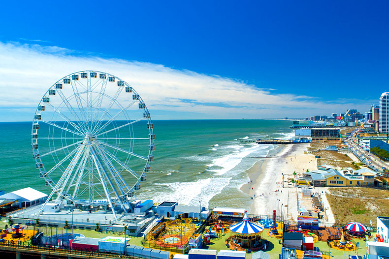 The boardwalk and beach in Atlantic City, New Jersey.