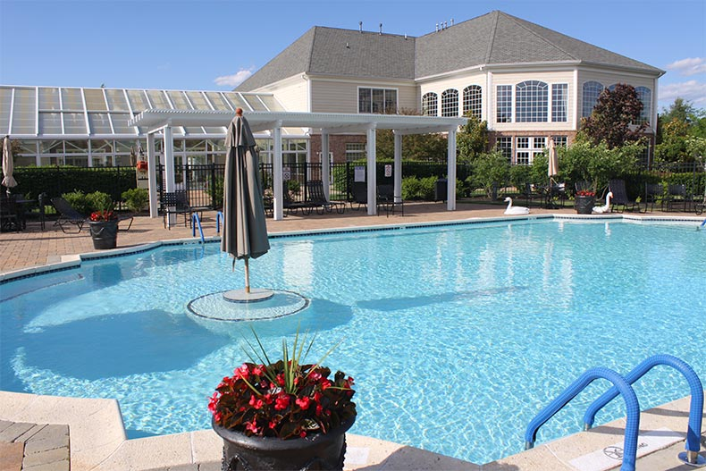 View of the outdoor pool at Encore Monroe in Monroe, New Jersey