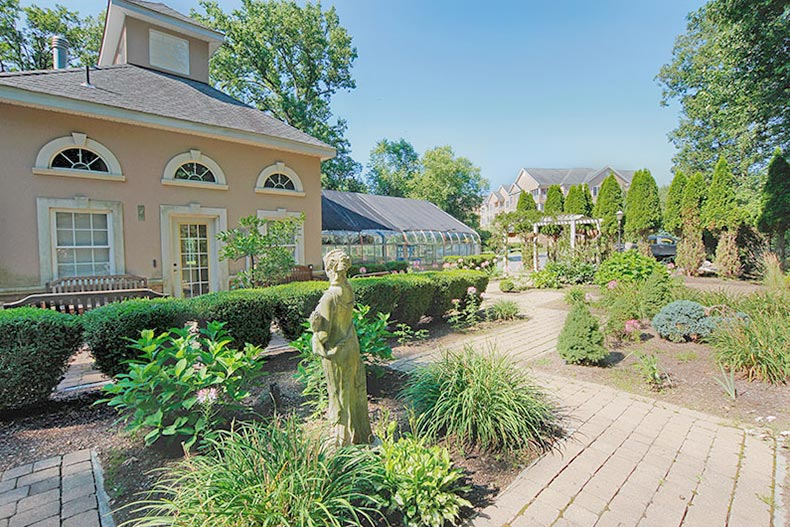View of the garden and greenhouse at Fox Hill in Rockaway, New Jersey