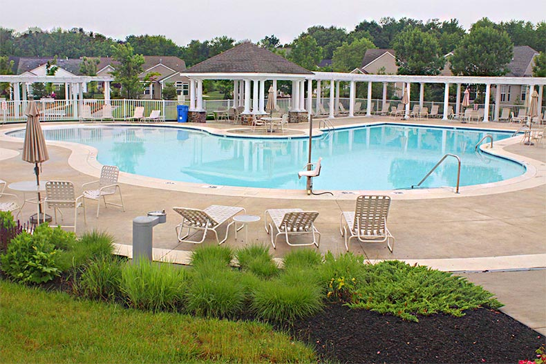 View of the outdoor pool at Four Seasons at Weatherby in Woolwich, New Jersey