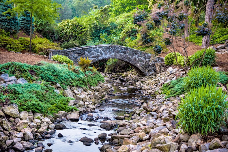 A stone bridge over a stream in a rock quarry garden in Downtown Greenville, South Carolina