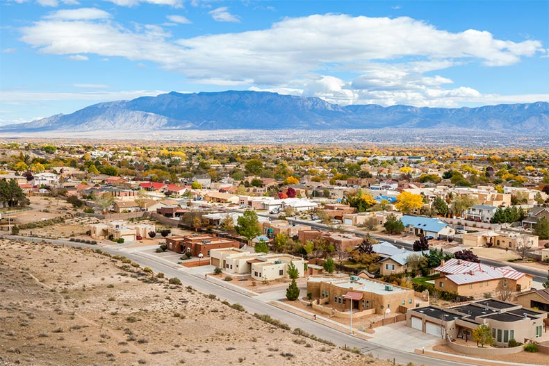 Aerial view of residential suburbs in Albuquerque, New Mexico