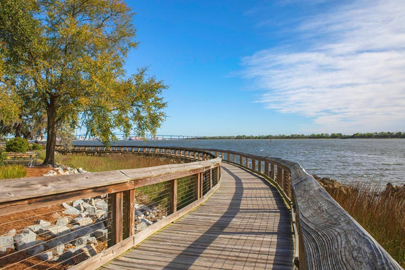 The boardwalk along the Cooper River at Riverfront Park in North Charleston, South Carolina