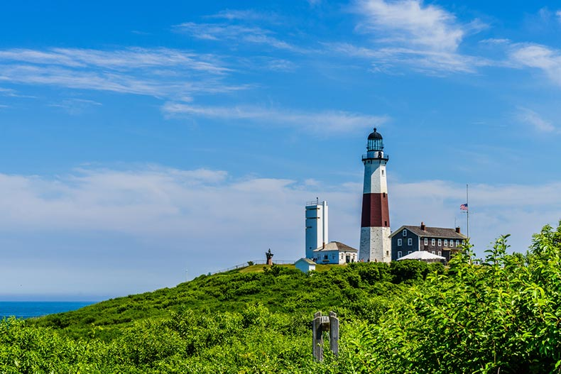 A blue sky over Montauk Point Lighthouse in Long Island, New York
