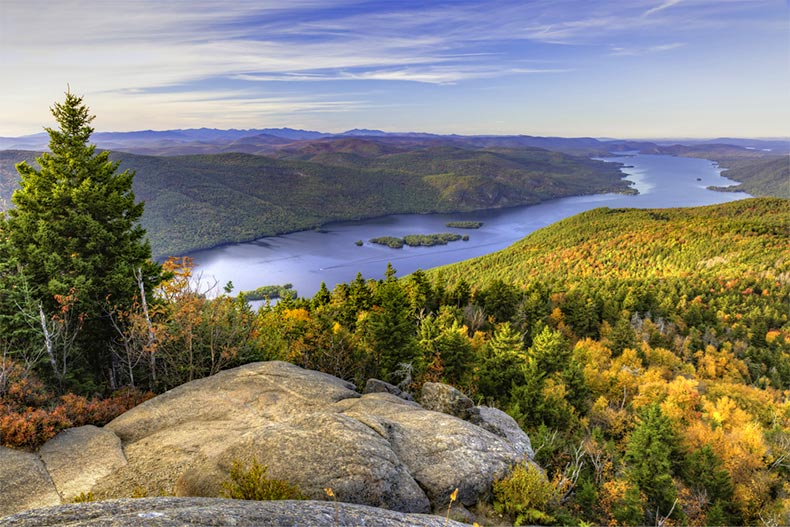 View overlooking the northern end of Lake George in the Adirondack Mountains of New York