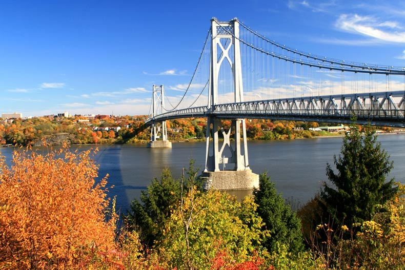 View of the Hudson Bridge spanning the Hudson River from Highland to Poughkeepsie, New York