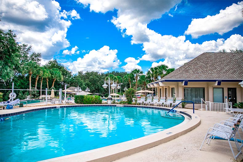 Outdoor pool and patio at Oak Run in Ocala, Florida