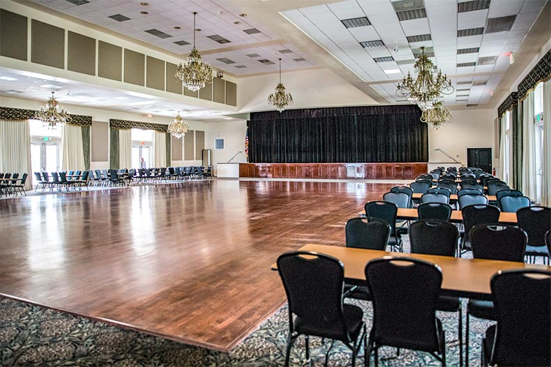 Interior view of the ballroom and stage at Oak Run in Ocala, Florida