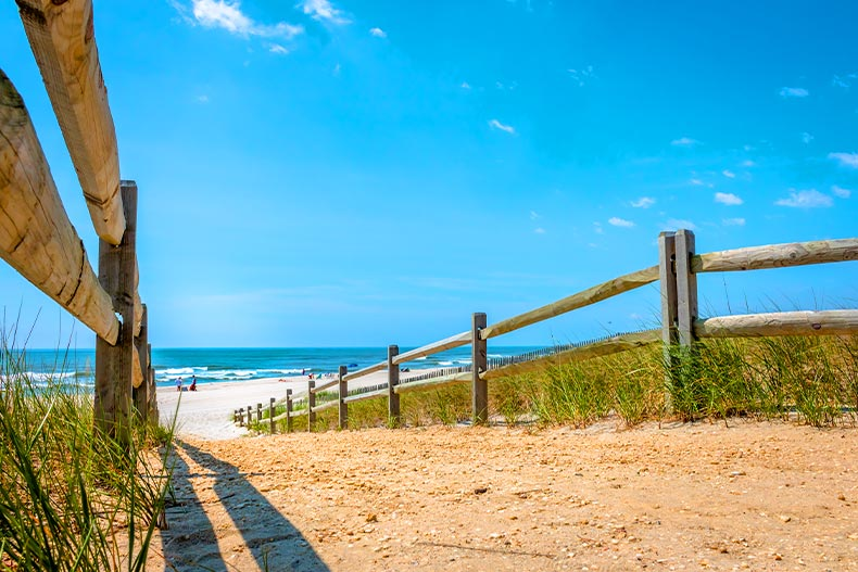 Photo of the path leading to an Atlantic Coast beach in Ocean County, New Jersey