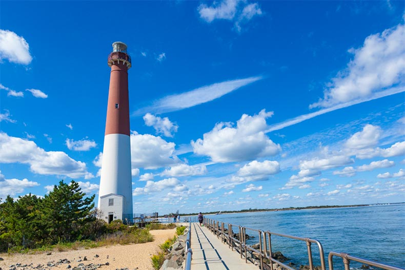 Barnegat Lighhouse on the shores of the Atlantic Ocean in New Jersey