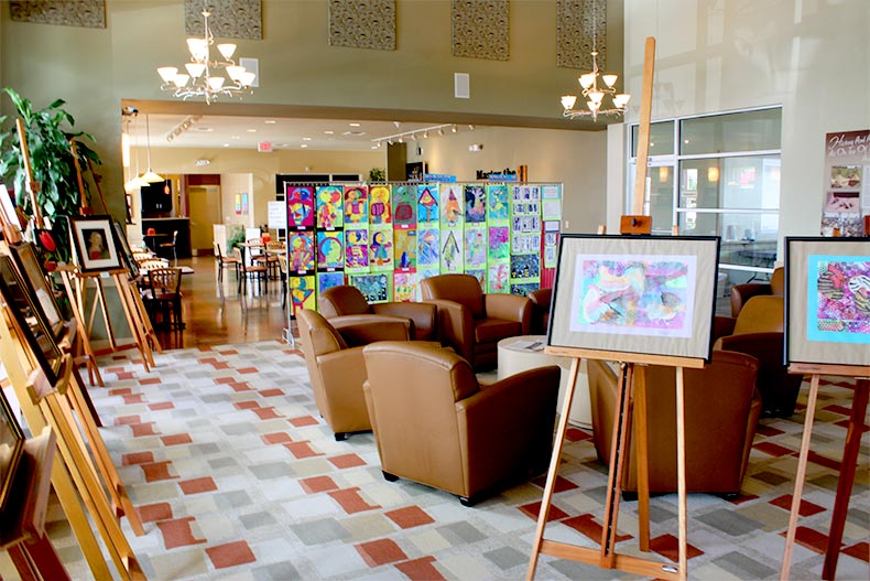 Artwork displayed in the lobby of a clubhouse at On Top of the World in Ocala, Florida