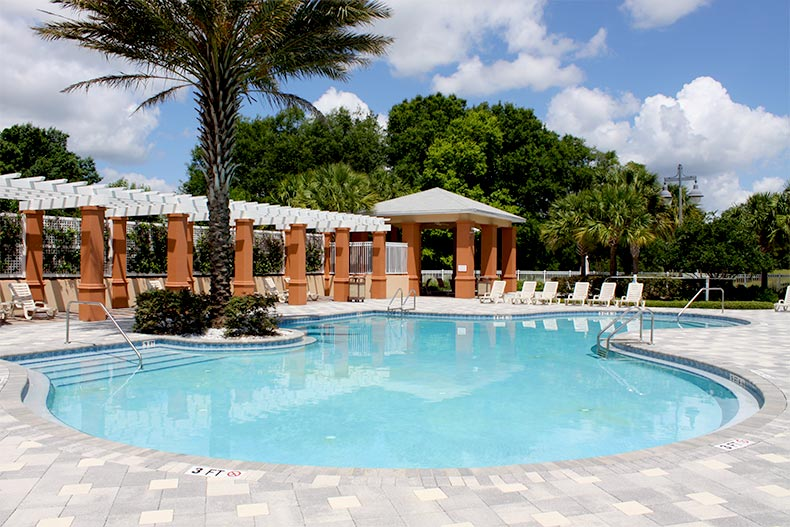 Outdoor pool, patio, and palm trees at On Top of the World in Ocala, FL