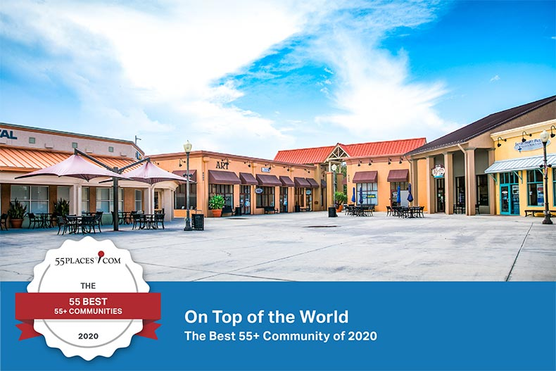 "A town square at On Top of the World in Ocala, Florida with a ""55 Best"" banner on the bottom"