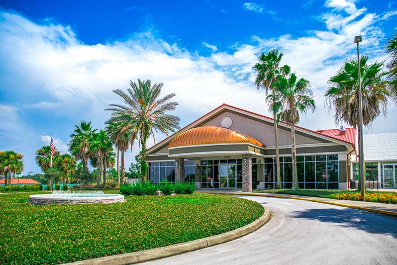 Exterior view of the Arbor Club & Conference Center at On Top of the World in Ocala, Florida