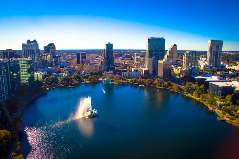 Aerial view of lake in downtown Orlando