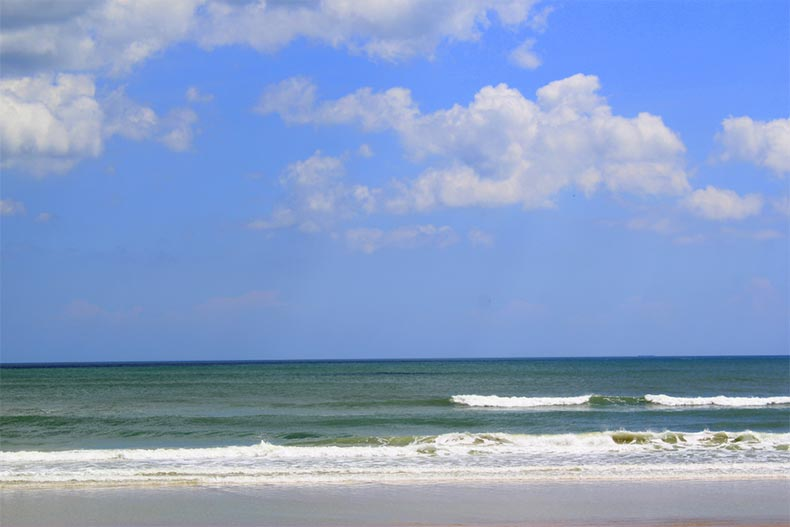 A white sandy beach in Ormond Beach, Florida