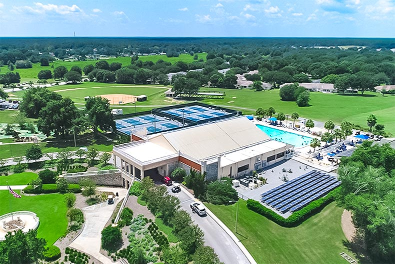 Aerial view of an amenity complex at On Top of the World in Ocala, Florida